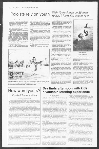 Daily Trojan, Vol. 72, No. 7, September 27, 1977