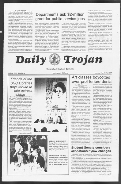 Daily Trojan, Vol. 71, No. 34, March 29, 1977