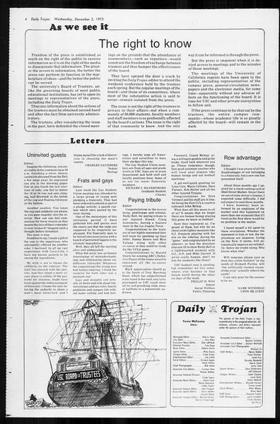 Daily Trojan, Vol. 68, No. 50, December 03, 1975