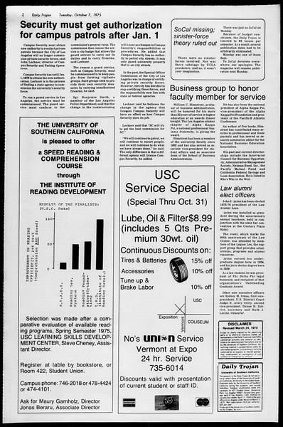 Daily Trojan, Vol. 68, No. 15, October 07, 1975