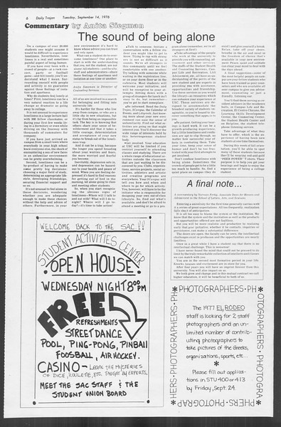 Daily Trojan, Vol. 70, No. 1, September 14, 1976