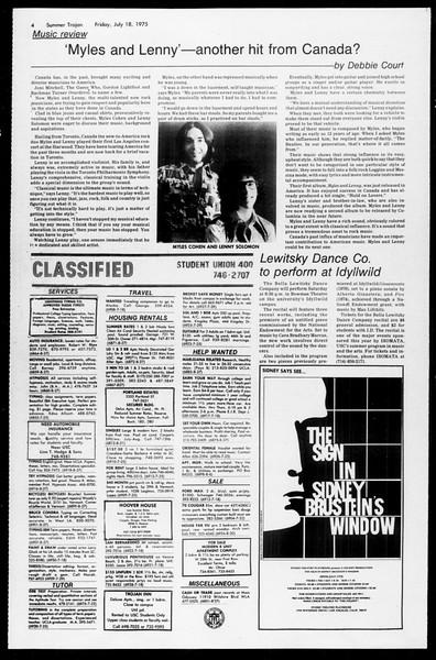 Summer Trojan, Vol. 68, No. 9, July 18, 1975