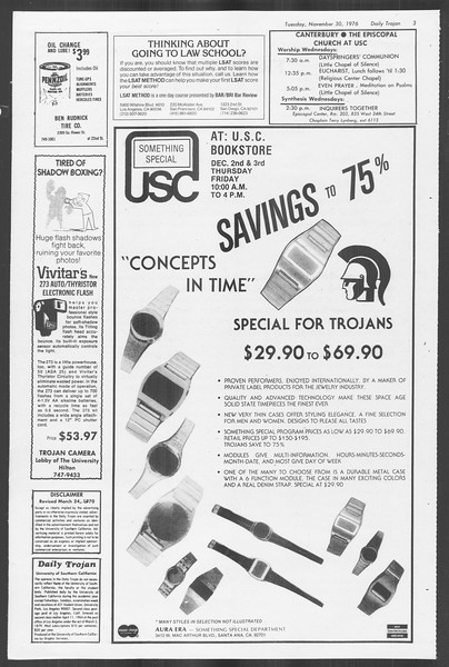 Daily Trojan, Vol. 70, No. 44, November 30, 1976