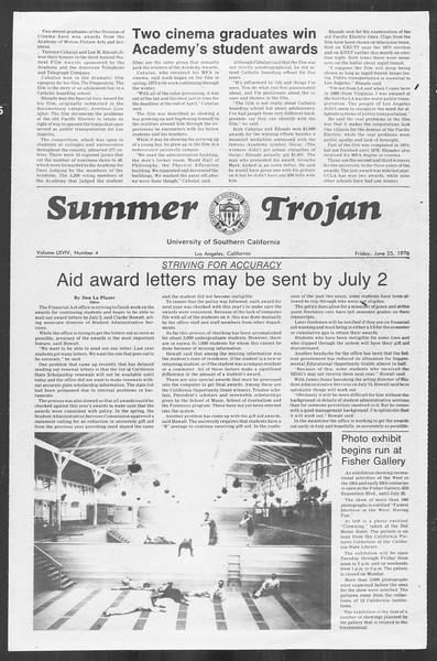 Summer Trojan, Vol. 69, No. 4, June 25, 1976