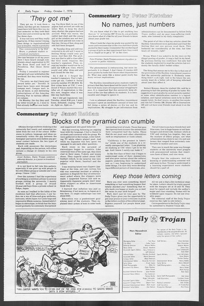 Daily Trojan, Vol. 70, No. 10, October 01, 1976