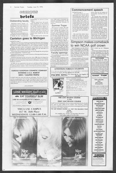 Summer Trojan, Vol. 69, No. 1, June 15, 1976