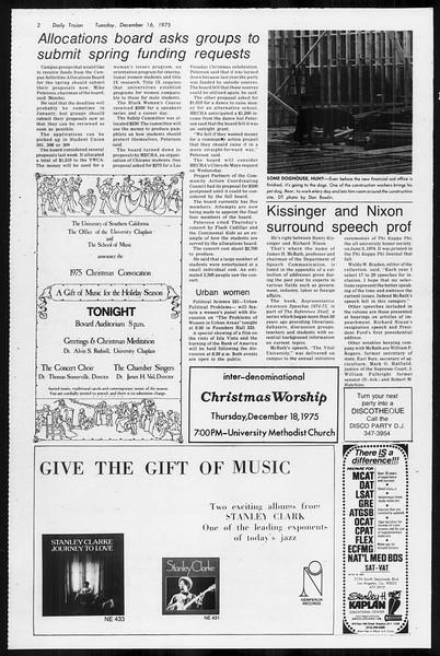 Daily Trojan, Vol. 68, No. 59, December 16, 1975