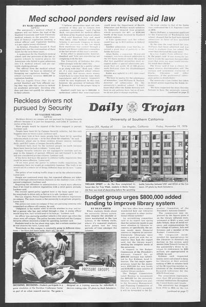 Daily Trojan, Vol. 70, No. 41, November 19, 1976