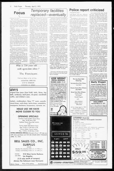 Daily Trojan, Vol. 67, No. 99, April 03, 1975