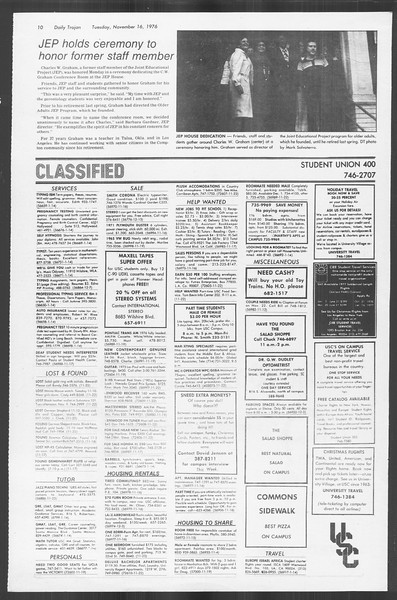 Daily Trojan, Vol. 70, No. 38, November 16, 1976