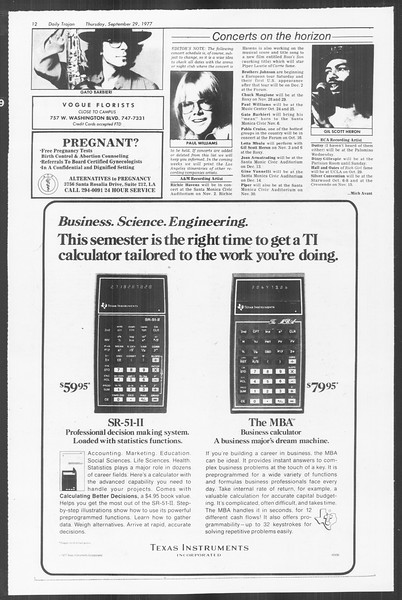 Daily Trojan, Vol. 72, No. 9, September 29, 1977