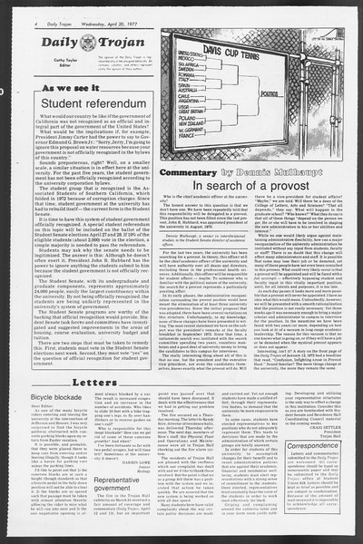 Daily Trojan, Vol. 71, No. 43, April 20, 1977