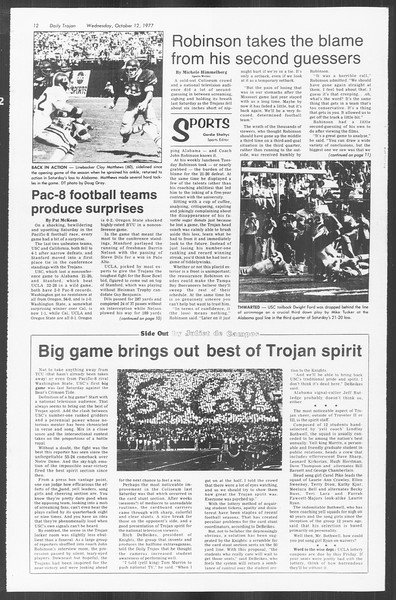 Daily Trojan, Vol. 72, No. 17, October 12, 1977