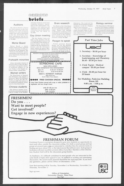 Daily Trojan, Vol. 72, No. 22, October 19, 1977
