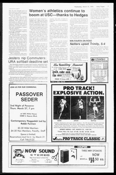 Daily Trojan, Vol. 67, No. 95, March 19, 1975