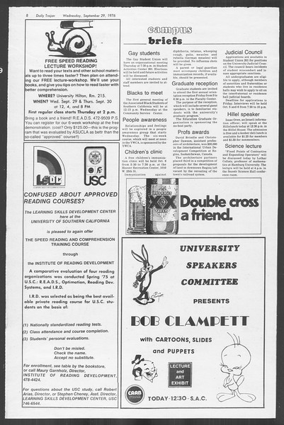 Daily Trojan, Vol. 70, No. 8, September 29, 1976