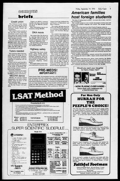Daily Trojan, Vol. 68, No. 4, September 19, 1975