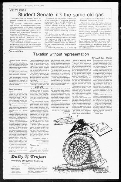 Daily Trojan, Vol. 67, No. 118, April 30, 1975