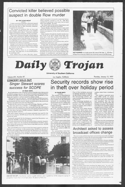 Daily Trojan, Vol. 70, No. 63, January 13, 1977