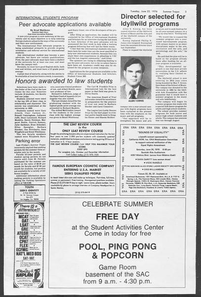 Summer Trojan, Vol. 69, No. 3, June 22, 1976