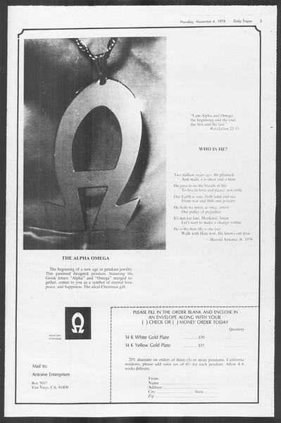 Daily Trojan, Vol. 70, No. 33, November 04, 1976