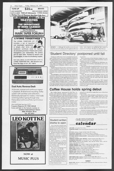 Daily Trojan, Vol. 71, No. 12, February 25, 1977