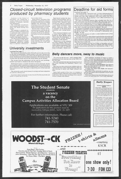 Daily Trojan, Vol. 72, No. 41, November 16, 1977