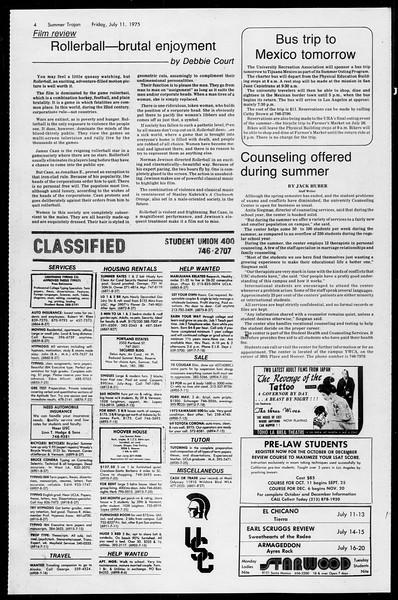 Summer Trojan, Vol. 68, No. 7, July 11, 1975