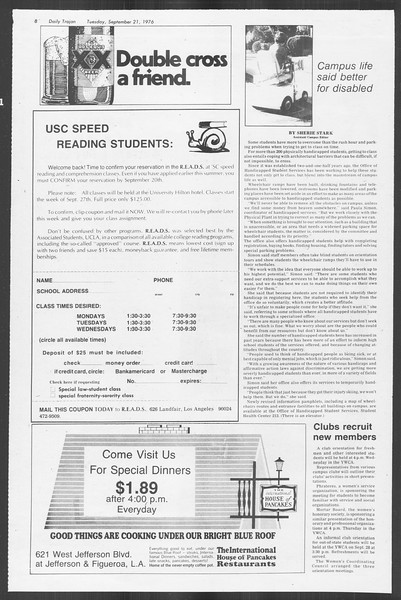 Daily Trojan, Vol. 70, No. 2, September 21, 1976