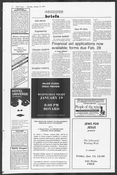 Daily Trojan, Vol. 70, No. 63, January 13, 1977