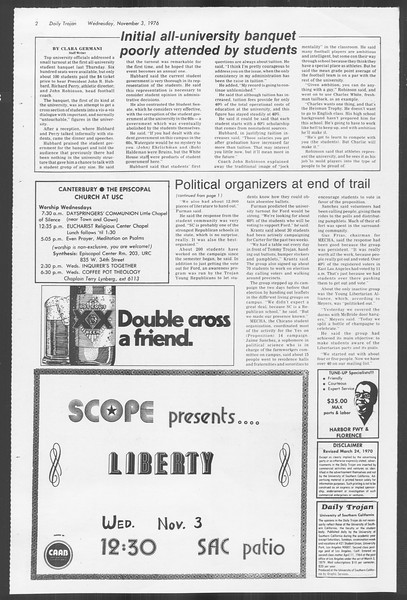 Daily Trojan, Vol. 70, No. 32, November 03, 1976