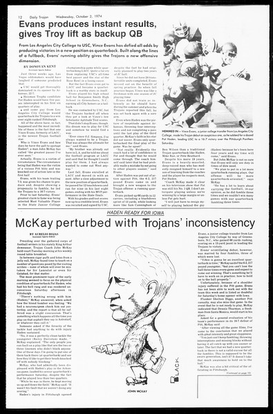 Daily Trojan, Vol. 67, No. 13, October 02, 1974