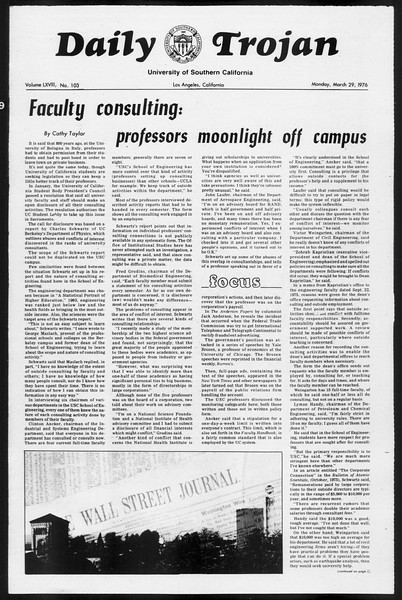 Daily Trojan, Vol. 68, No. 103, March 29, 1976