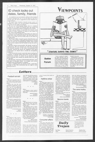 Daily Trojan, Vol. 72, No. 17, October 12, 1977