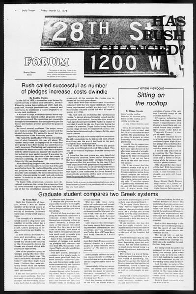 Daily Trojan, Vol. 68, No. 92, March 12, 1976