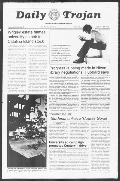 Daily Trojan, Vol. 72, No. 3, September 21, 1977