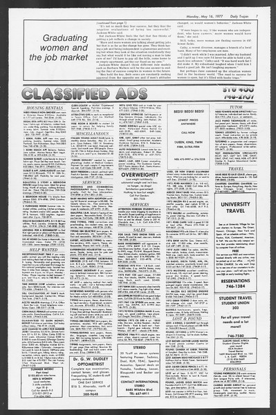 Daily Trojan, Vol. 71, No. 60, May 16, 1977