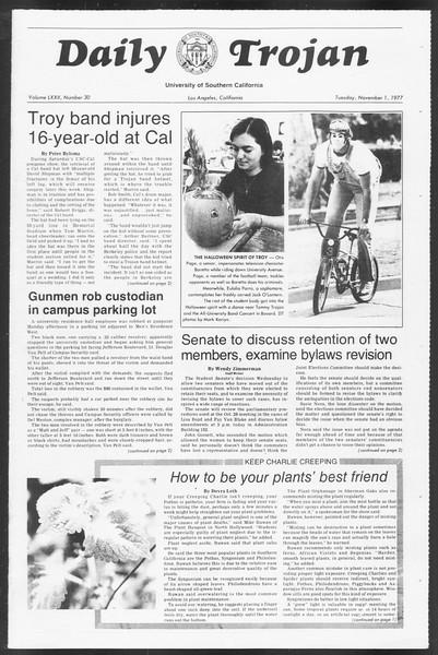 Daily Trojan, Vol. 72, No. 30, November 01, 1977