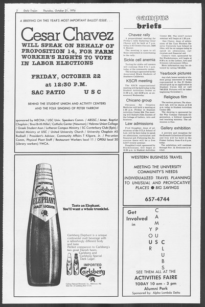 Daily Trojan, Vol. 70, No. 23, October 21, 1976