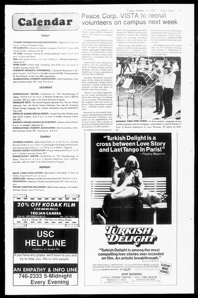 Daily Trojan, Vol. 67, No. 20, October 11, 1974