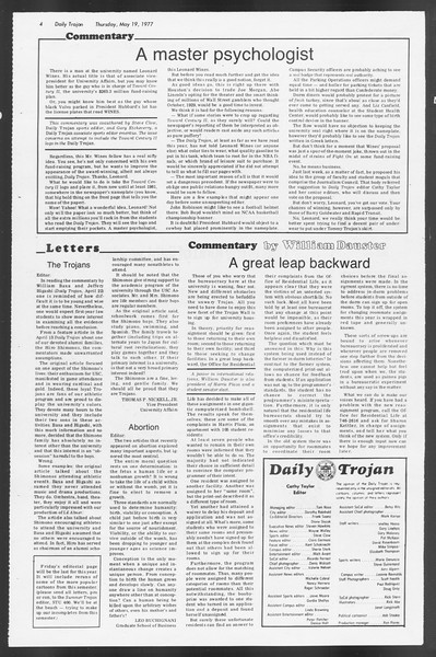Daily Trojan, Vol. 71, No. 63, May 19, 1977