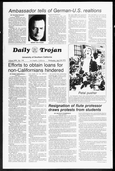 Daily Trojan, Vol. 67, No. 118, April 30, 1975
