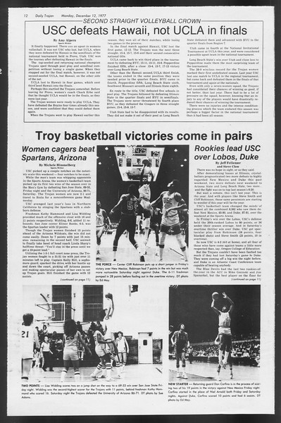 Daily Trojan, Vol. 72, No. 55, December 12, 1977