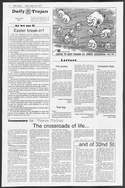 Daily Trojan, Vol. 71, No. 27, March 18, 1977