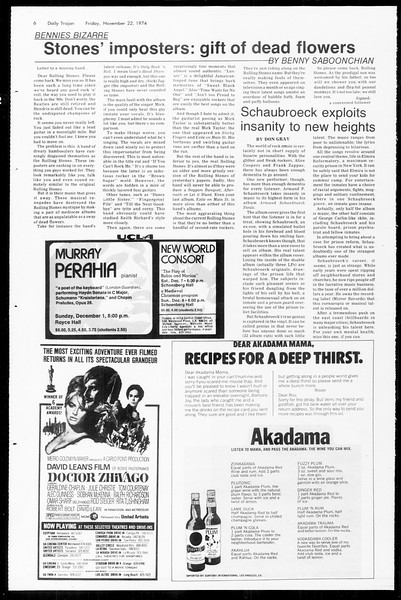 Daily Trojan, Vol. 67, No. 47, November 22, 1974