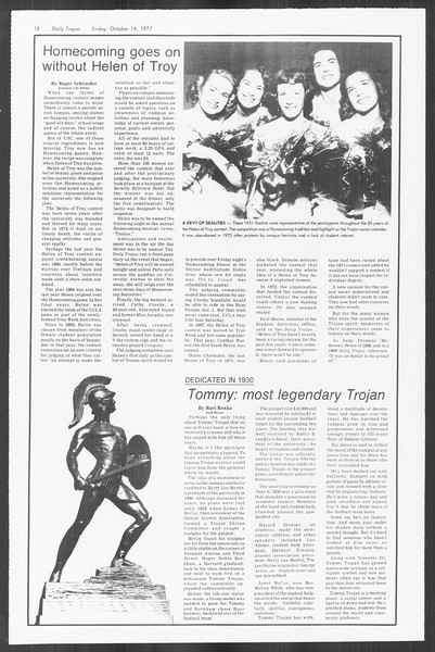 Daily Trojan, Vol. 72, No. 19, October 14, 1977