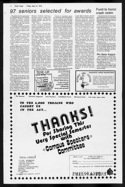 Daily Trojan, Vol. 68, No. 130, May 14, 1976