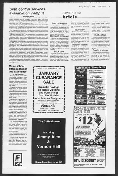 Daily Trojan, Vol. 72, No. 60, January 06, 1978