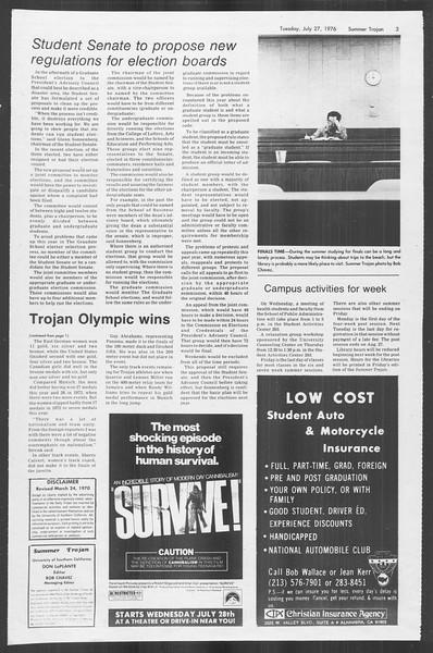 Summer Trojan, Vol. 69, No. 12, July 27, 1976