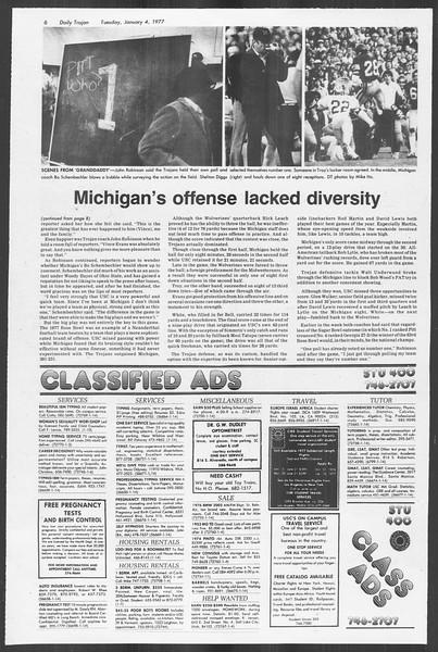 Daily Trojan, Vol. 70, No. 56, January 04, 1977